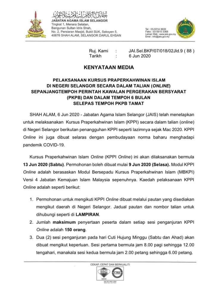 Kursus Kahwin Di Selangor Bakal Dibuat Secara Online Bermula